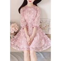 20180822194604333韩版新款淑雅蕾丝立体花朵七分袖修身显瘦公主大裙摆连衣裙女
