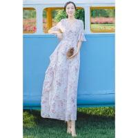 夏季新款文艺复古碎花气质连衣裙度假沙滩大摆长裙仙女裙 白色 S