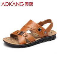 Aokang/奥康男凉鞋男士休闲凉鞋真皮轻便皮凉鞋男青年 沙滩鞋夏季