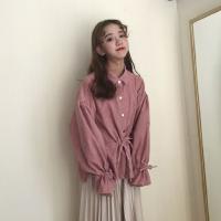 春装韩版宽松纯色灯芯绒长袖衬衣百搭显瘦复古休闲系带衬衫上衣女