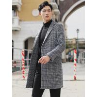 冬季格子羊毛呢大衣男中长款韩版修身加厚帅气呢子风衣外套英伦潮