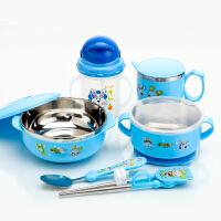 学习筷子套装宝宝带盖儿童餐具 不锈钢保温碗隔热吸盘碗勺训练