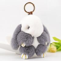 汽车钥匙扣 装死兔可爱兔毛配饰女士创意钥匙链包挂件礼配饰情人节礼物