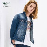 【1.15-1.20到手价:275.7】七匹狼旗下圣沃斯系列牛仔外套青年男时尚潮流刺绣牛仔外套夹克酷