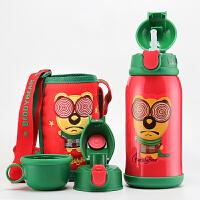 包邮!哆啦A梦 吸管保温杯子 350ML儿童抽真空保温水壶 背带学生保温壶 两色可选