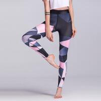 新款渐变印花瑜伽健身裤弹力收脚紧身女式跑步运动打底裤