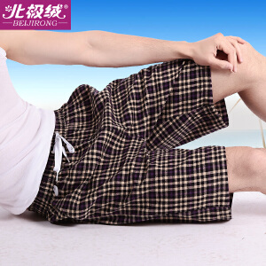 北极绒男士居家裤男睡裤宽松舒适印花沙滩裤短裤衩