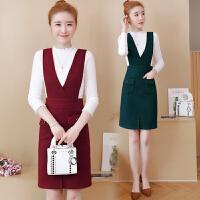 背带裙女2018新款秋冬韩版优雅修身气质毛呢打底裙长袖两件套长裙