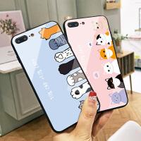 可爱猫咪苹果8plus手机壳情侣卡通iPhone6保护壳7防摔玻璃壳X硅胶