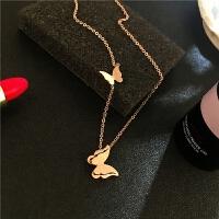 彩金项链女18k玫瑰金锁骨链日韩时尚气质磨砂蝴蝶吊坠装饰品