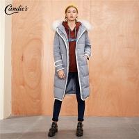 羽绒服外套女中长款拉夏贝尔冬季新款宽松大衣连帽毛领派克服