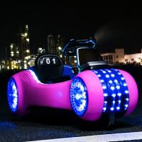 儿童电动车三轮太空车婴儿玩具可坐人四轮遥控汽车可坐宝宝摩托车1 粉蓝顶配+ 双电双驱+摇摆+皮垫