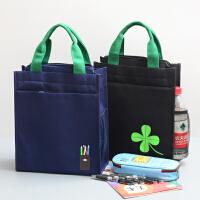 新中小学生手提袋加厚帆布补习袋补课包大号拉链文件袋儿童拎书袋
