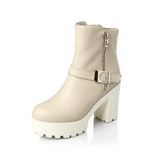 Tata/他她 年时尚休闲小牛皮革女靴2C145DD5