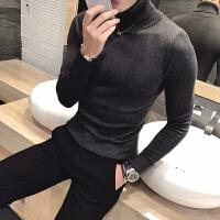 秋冬新款 英伦新款高领纯色打底衫 修身男士针织衫 百搭套头毛衣