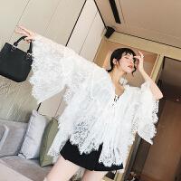 新款女装春装韩版喇叭袖睫毛白色蕾丝上衣宽松雪纺蕾丝衫女 白色 均码
