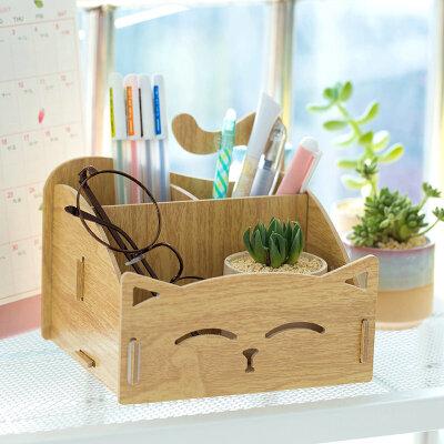 【限时秒杀】 木质桌上收纳盒 可爱猫咪笔筒 便签盒 笔筒 儿童桌面收纳