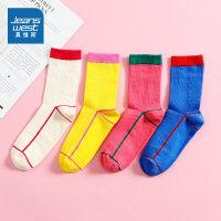 [618提前购专享价:25元]【3双装】真维斯女袜子2020夏新款撞色中袜