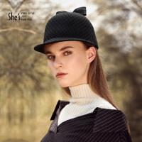 【专柜同款】She's茜子 时尚网纱羊毛帽子女 秋冬蝴蝶结毛呢帽纱 骑士帽