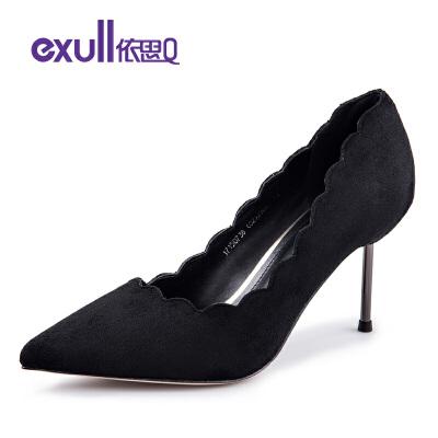 依思q春秋新款绒面花瓣鞋边套脚单鞋女细跟高跟鞋子