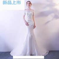婚纱礼服2018公主梦幻红色新娘一字肩简约收腰鱼尾结婚小拖尾