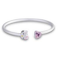 凯蒂猫学生款开口手镯儿童银手链 女宝宝小孩生日礼物
