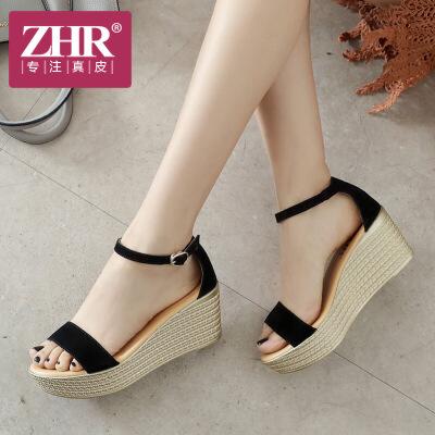 ZHR2018夏季新款坡跟松糕凉鞋厚底高跟鞋一字扣简约女鞋平底鞋子V51