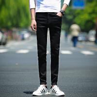 2018黑色牛仔裤 男士修身型夏季薄款小脚裤韩版8011