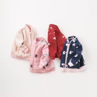 戴维贝拉春装新款外套 女童宝宝摇粒绒休闲外套DB396-G