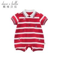 davebella戴维贝拉2018夏装新款宝宝连身衣 婴幼儿连体爬服DB8284
