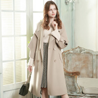 冬装新品 西装领纯羊毛宽松长款双面呢大衣女D746252D00