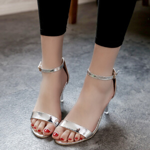 2017夏季新款时尚女凉鞋性感细跟高跟鞋露趾一字式扣带女鞋子细跟女凉鞋单鞋子女999XMY