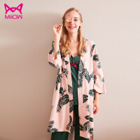 猫人miiow女士睡衣秋季新品净面混搭长袖V领睡袍家居服三件套装