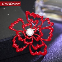饰品 端庄气质牡丹人造珍珠胸花胸针女时尚红色别针
