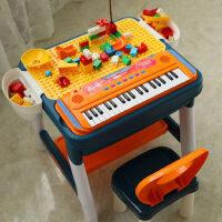 积木桌子儿童玩具多功能学习桌男女孩拼装益智电子琴宝兼容legao