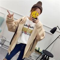 2018秋季新款学生卫衣女冬装宽松韩版学院风加绒加厚连帽外套长袖