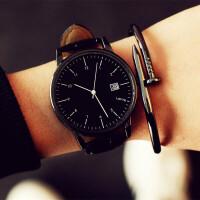 手表女学生时尚潮流简约 大表盘男表皮带女表 情侣手表一对