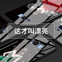 三星s8手机壳玻璃女款s8plus个性创意note8防摔韩国硅胶钢化潮套