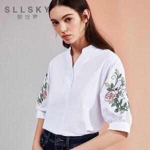 熙世界绣花棉质衬衣2018夏季新款五分袖v领衬衣女装112SC016