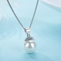 包邮经典珍珠贝母水晶钻项链