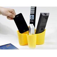 四叶草桌面遥控器收纳盒 电视空调手机储物杂物盒客厅杂物整理盒 手机座 颜色随机