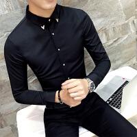 2018春装白衬衫男长袖韩版修身潮流帅气衣服休闲衬衣时尚纯色寸衫