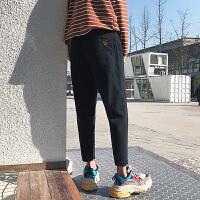 韩版复古男士潮流做旧牛仔裤春季新款小脚锥形裤男装长裤子2018