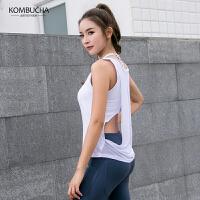【女神特惠价】Kombucha运动健身背心女士性感网纱拼接透气含胸垫假两件健身跑步背心罩衫JCBX232