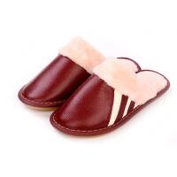 拖鞋冬季女居家保暖棉拖鞋防滑室内木地板厚底情侣拖鞋男