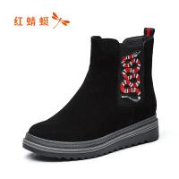 红蜻蜓女鞋秋冬季新款时尚运动短靴舒适休闲平跟圆头百搭女靴