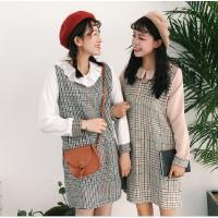 闺蜜装连衣裙女秋冬新品韩版格子拼接荷叶边加厚假两件学生裙子潮