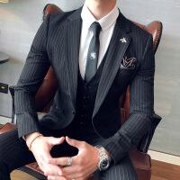 西服套装男士三件套韩版条纹休闲职业正装新郎伴郎结婚礼服小西装