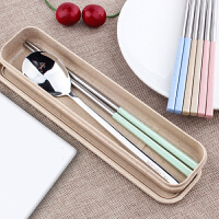 创意小麦不锈钢304便携餐具筷子勺子套装 学生可爱筷子盒长柄旅游用品
