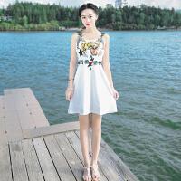 夏季新品女装修身无袖吊带裙子雪纺连衣裙波西米亚海边度假沙滩裙 白色 XZC391